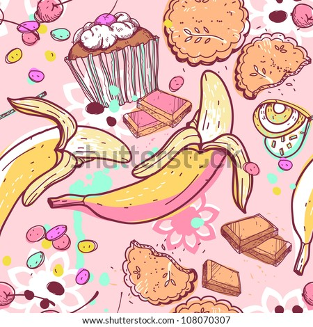 vector seamless pattern with a variety of sweets and candy