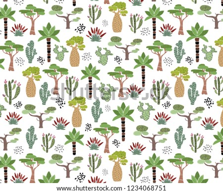 Vector seamless pattern with African tropical cacti, trees, plants  and leaves on white, endless texture - for clothes, baby textiles, prints, posters, greeting cards, etc.