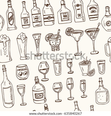 Vector seamless pattern with alcoholic drinks hand drawn doodles on white background. Various kinds of cocktails and soft drinks. Illustration for menus, recipes and packages product