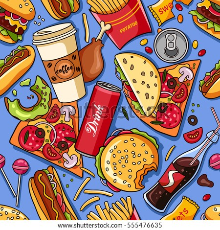 Vector seamless pattern with american fast food. Fun and bright colorful background. Wallpaper with an image tasty foot.