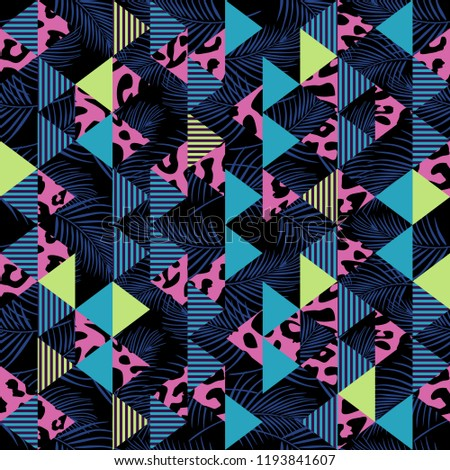Vector seamless pattern with animal skin and triangle abstract. Geometric trendy for fashion textile print and wrapping.