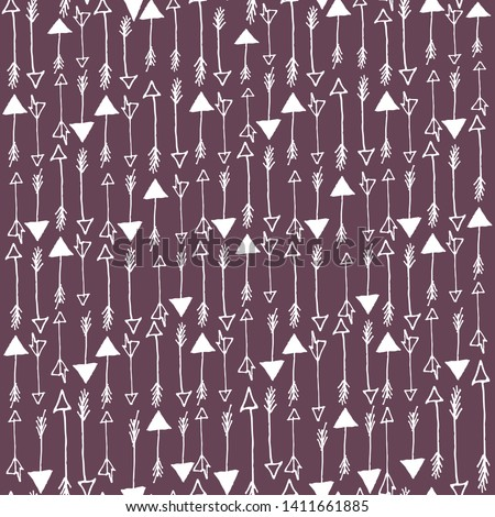 Vector seamless pattern with arrows in white and violet colors