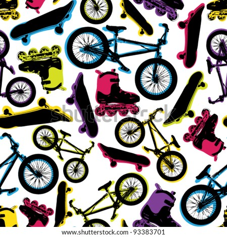 Vector seamless pattern with bicycles,skateboards and rollers.