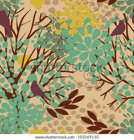 vector seamless pattern with birds and blooming trees