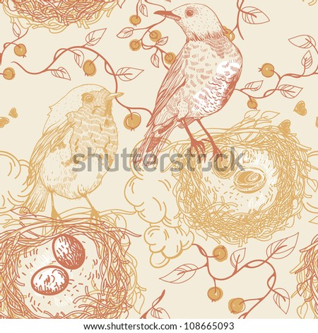 vector seamless pattern with birds, nests and berries