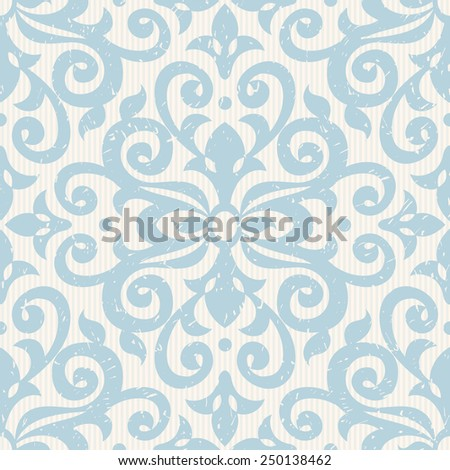 Vector seamless pattern with blue ornaments Vintage element for design in Victorian style Ornamental lace tracery Ornate floral decor for wallpaper Endless vintage texture Light pattern fill