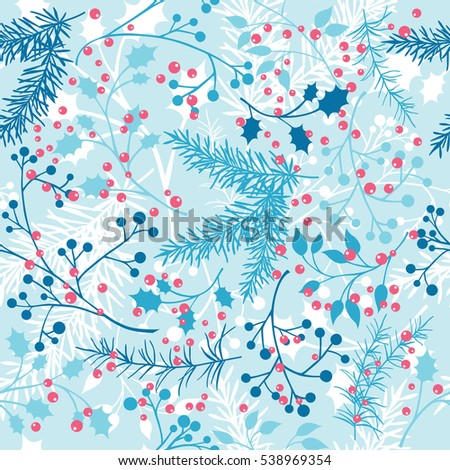 Vector seamless pattern with blue winter plants. Gentle, winter, floral background.