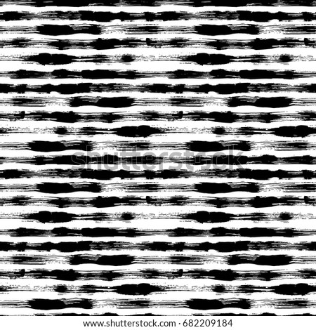 Vector seamless pattern with brush stripes and strokes. Black color on white background. Hand painted grange texture. Ink geometric elements. Fashion modern style. Endless trend fabric print. Unusual