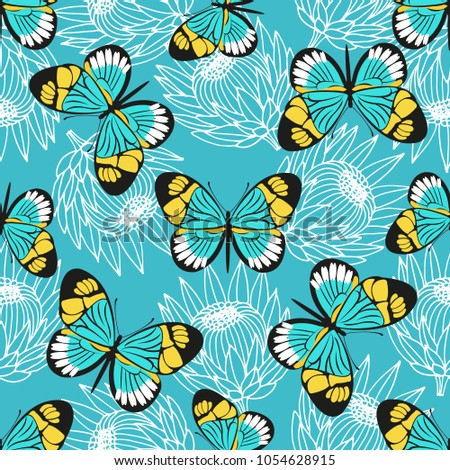 Vector seamless pattern with butterflies and protea flowers