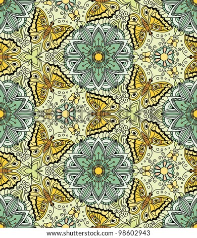 Vector seamless pattern with butterflies. Kaleidoscope