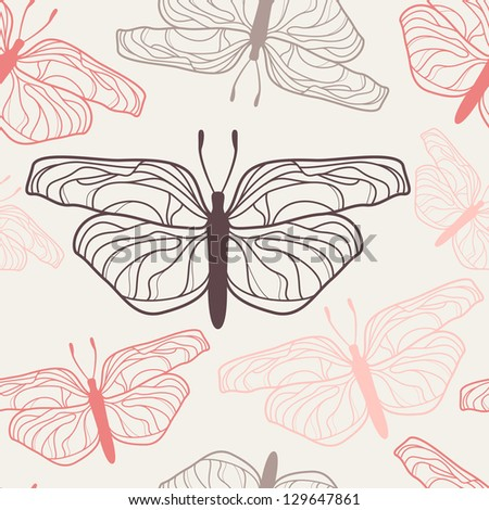 Vector seamless pattern with butterflies. Stylish graphic texture. Pastel repeating print