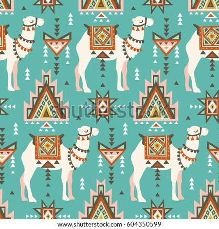 Vector seamless pattern with camels and ethnic motifs. Desert boho design for fabric design.