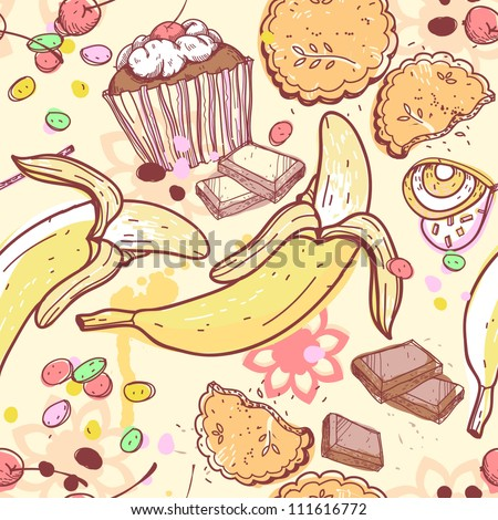 vector  seamless pattern with candies,bananas and chocolate
