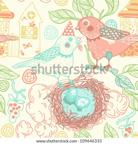 vector seamless pattern with cartoon birds and nests