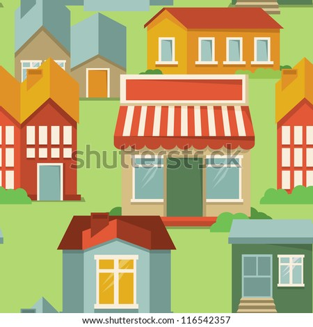 vector seamless pattern with cartoon houses and buildings - abstract background