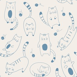 Vector seamless pattern with  cartoon kitten. Hand draw cute cats in sketch style. Doodle style. For textiles, clothing, bed linen, office supplies.