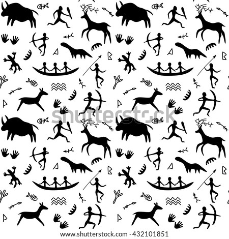 Vector Seamless Pattern with Cave Drawings Theme, black silhouettes of hunting caveman and wild animals