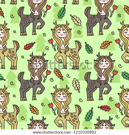 Vector seamless pattern with centaur girl. Colorful childish drawing. Hand-drawn doodles. Textile fr kid's clothes.  #1210330882