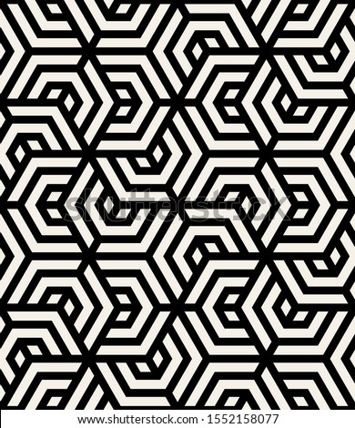Vector seamless pattern with chevron. Modern geometric texture. Repeating abstract background. Polygonal grid with bold striped hexagons. Can be used as swatch for illustrator.
