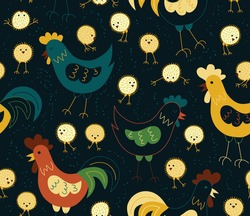 Vector Seamless pattern with chickens,  hen and rooster. Loop pattern for fabric, textile, wallpaper, posters, gift wrapping paper, napkins, tablecloths. Print for kids. Children's print