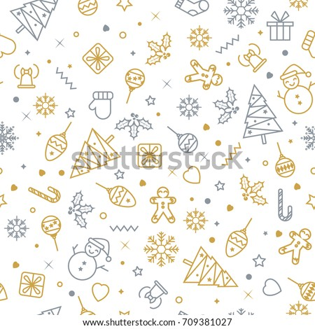 Vector seamless pattern with Christmas elements. Christmas and New year decoration. Winter background. Pattern for fabric, textile, wrapping paper and other decoration. Vector illustration.