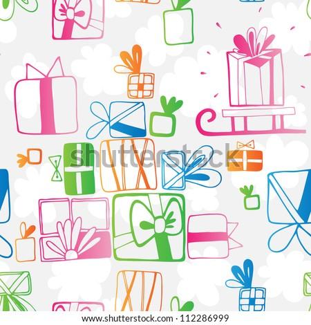 Vector seamless pattern with colored gifts
