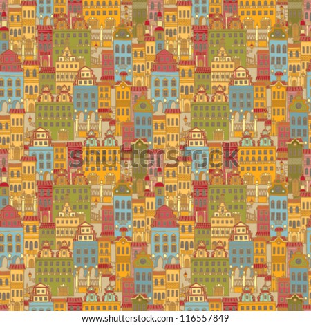 Vector seamless pattern with colorful houses - stock vector