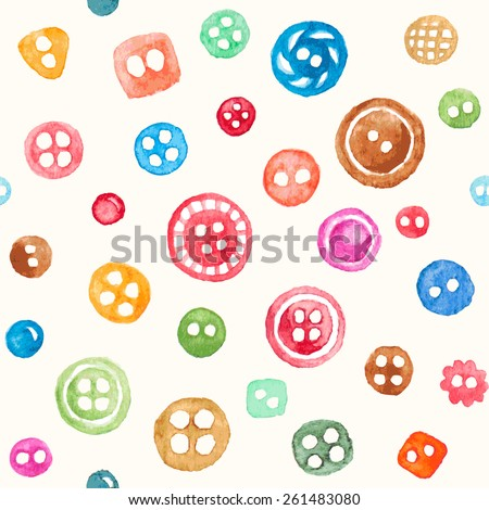 Vector seamless pattern with colorful watercolor buttons #261483080