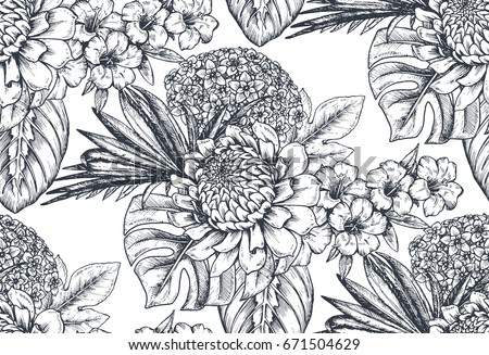 Black and white flowers download free vector art stock graphics vector seamless pattern with compositions of hand drawn tropical flowers palm leaves jungle plants mightylinksfo