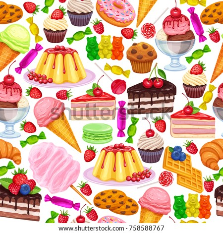 Vector seamless pattern with confectionery and sweets icons. Dessert, lollipop, ice cream with candies, macaron and pudding. Donut and cotton candy, muffin, waffles, biscuits and jelly