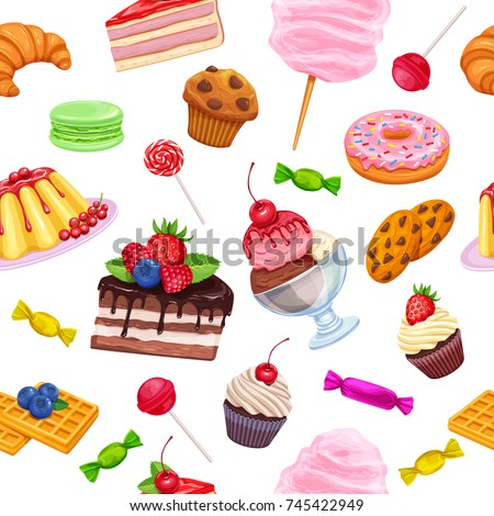 Vector seamless pattern with confectionery and sweets icons. Dessert, lollipop, muffin, waffles with candies, macaron and pudding. Donut and cotton candy, biscuits and jelly.