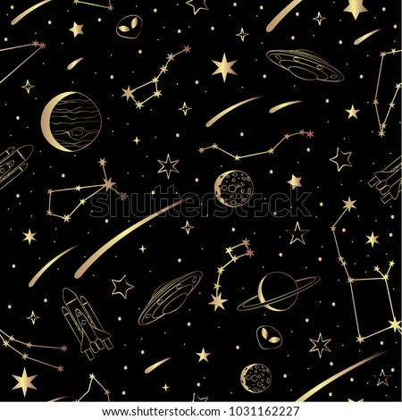 Vector seamless pattern with cosmic objects on a dark background. Hand drawn vector doodles.