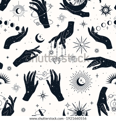Vector seamless pattern with couple and single hands, planets, constellations,  sun, moons and stars. Trendy background for design of fabric, packaging, phone case, astrology, wrapping paper.  Stock photo ©