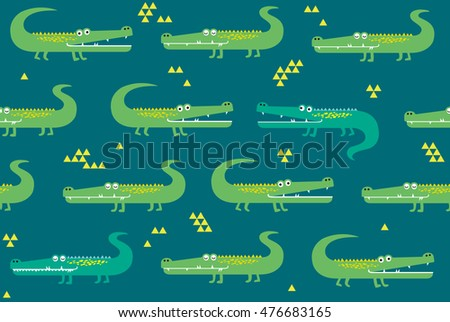 Vector seamless pattern with crocodile. Animals print for children.