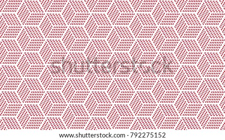 Vector seamless pattern with cubes. Linear geometric texture. Hexagonal abstract background. Polygonal grid with bold striped elements.