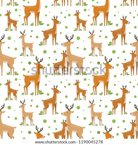 vector seamless pattern with cute and simple cartoon deers and dots