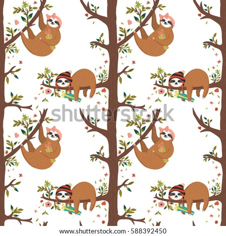 Vector seamless pattern with cute baby sloth. Funny cartoon sloths on the tree, first girl holding gift box, second hipster boy sleeping on the branch. Summer background with rainforest animals