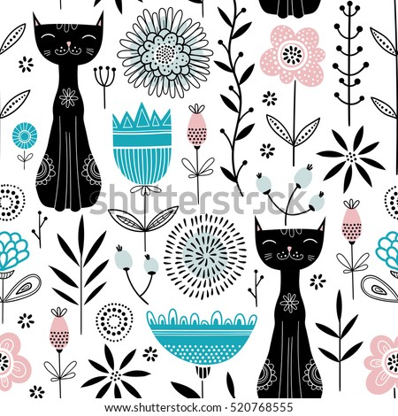 Vector seamless pattern with cute black cats and flowers