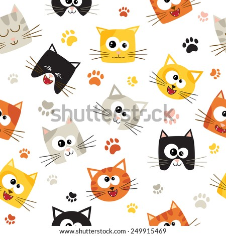 Vector seamless pattern with cute cartoon cats Seamless pattern can be used for wallpaper web page background surface textures