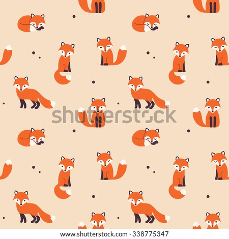 Vector seamless pattern with cute cartoon foxes.