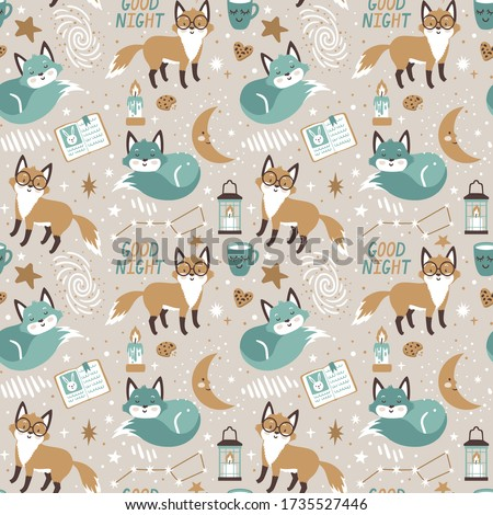 Vector seamless pattern with cute fox, stars, books, milk and cookies. Cozy repeated texture with cartoon characters. Childish print for kids fabric and wrapping paper. Scandinavian style. Good night.