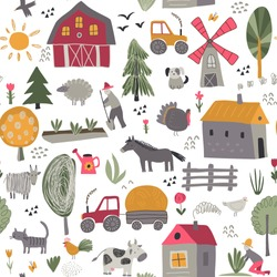 Vector seamless pattern with cute hand drawn farm animals, trees, houses, tractor, mill. Childish texture for fabric, textile, apparel. Endless background for children