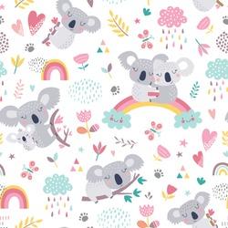 Vector seamless pattern with cute koala