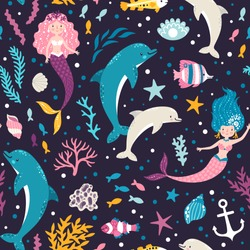 Vector seamless pattern with cute mermaids, dolphins, seaweeds and fish. Sea repeated texture with cartoon characters. Childish print for kids fabric and wrapping paper. Underwater background.