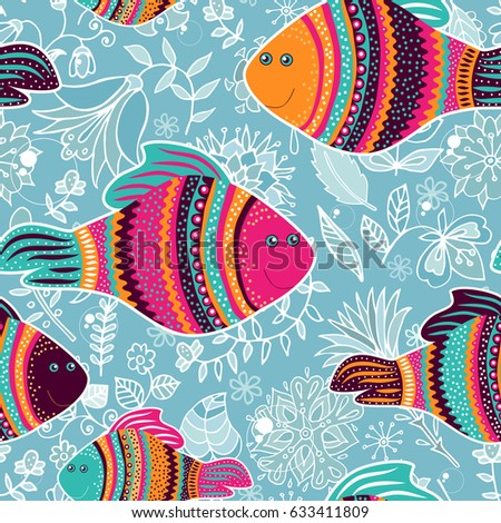Vector seamless pattern  with decorative fishes. Colorful animal backdrop