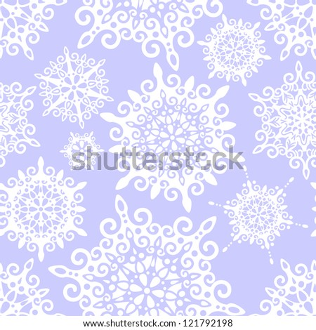 vector seamless pattern with decorative snowflakes