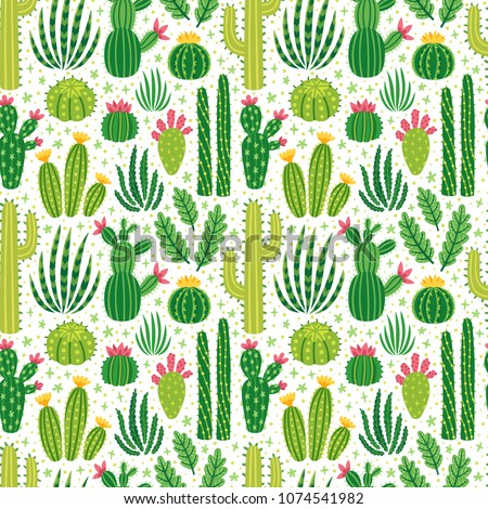 Vector seamless pattern with different cactus. Bright repeated texture with green cacti. Natural hand drawing background with desert plants.
