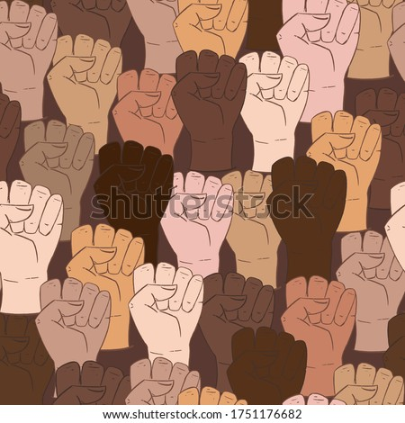 Vector seamless pattern with different ethnicity colors human fists. Hand drawn background with strong fists, anti-discrimination African people in USA, police violence. Stop racism, all lives matter. Photo stock ©