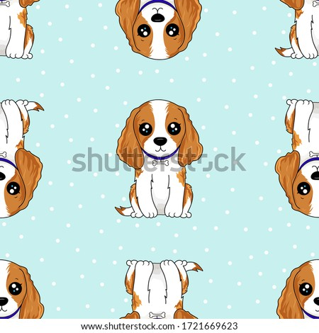 Vector seamless pattern with dogs with Cavalier King Charles Spaniel breeds of white and brown fur, with long ears and curly hair. Can be used as a background, wallpaper, fabric and for other design. Photo stock ©