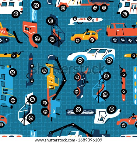 Vector Seamless Pattern with Doodle Different Toy Cars: Racing Car, Heavy Construction Trucks. Cartoon Transportation Blue Background for Kids